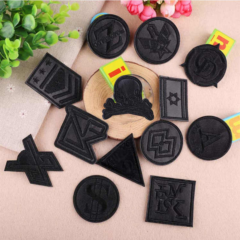 Black Round PU Leather Military Embroidery Patches for Clothes Iron on Clothes Appliques Badge Stripe Sticker Iron-on Armbands