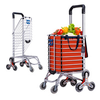 A 9% Foldable Aluminum Alloy Shopping Cart Portable Climbing Trolley Luggage Cart Large Capacity Supermarket Shopping Cart