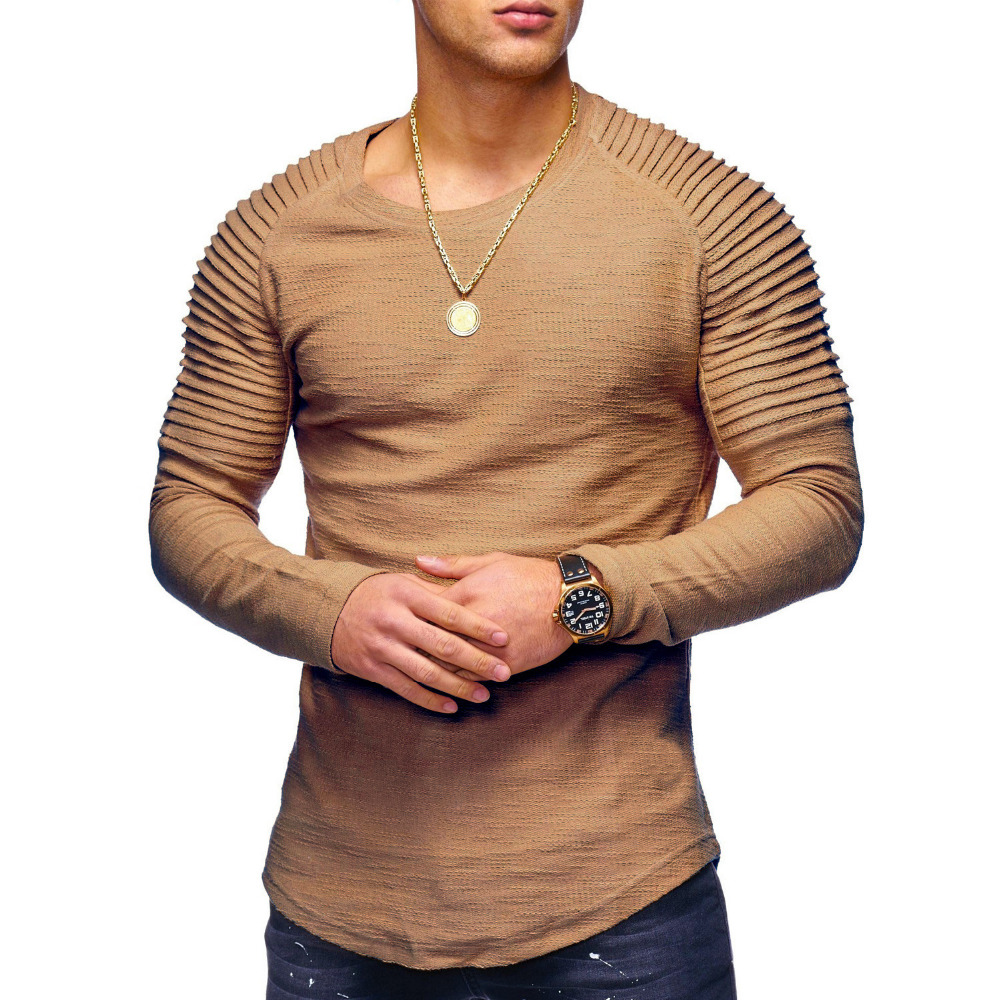 2018 New Fashion Men's Round Neck Slim Solid Color Long-sleeved   T  -  shirt   Striped Fold Raglan Sleeve Style   T     shirt   Tops Tees