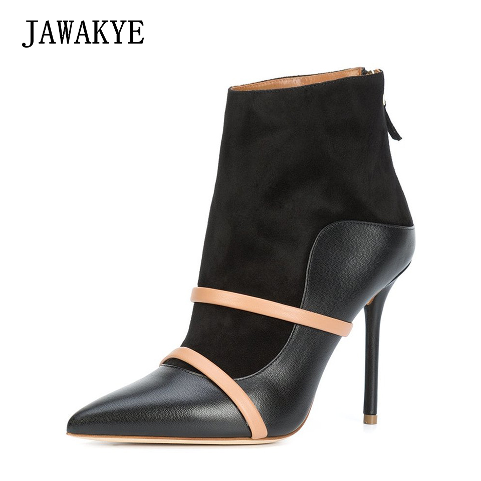 New Fashion Ladies High heel Ankle boots Women Pumps two belts Leather Mules Pointed Toe back zipper Dress Party Shoes Woman black smooth leather women pointed toe ankle buckle pumps deep v back ladies blade heel shoes spring fashion female dress shoes