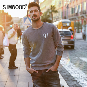 SIMWOOD 2019 الربيع عدد الأزياء هوديس الرجال خمر بلوزات الملابس مصبوغ يا الرقبة المطبوعة Streetswear زائد حجم 180182