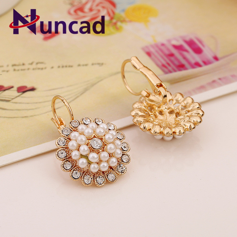 NUNCAD Sunflower Earrings Trendy Fresh Flowers Pearl Earrings Alloy Rhinestone For Party