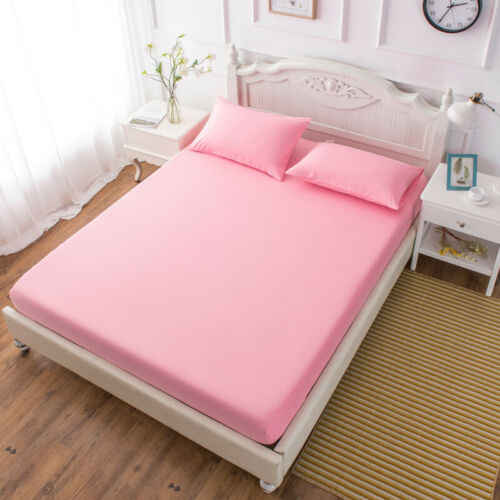 Bed Fitted Sheet Elastic Sheets Single Twin Full Queen King Bedding Cover Bed Sheet  3 Size