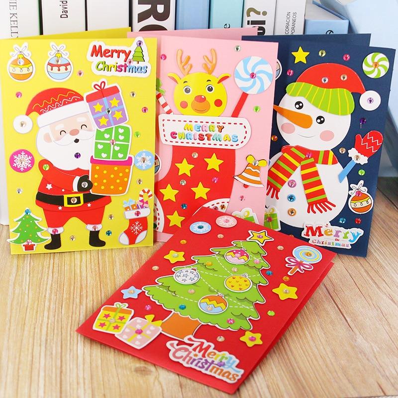Children DIY Handmade Christmas Card Kindergarten Baby Creative Santa Claus 3D Greeting Card Craft Educational Toy Gift