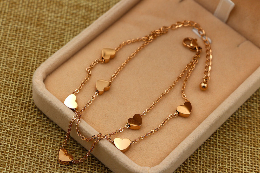 Hot Sale Fashion Seven Hearts Double Layer Chain Lover Bracelets Titanium Steel Rose Gold Women Girls Bracele For giftsts