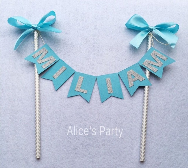 Personalized New Boy Name Cake Topper Bunting Blue Silver Baby Shower Cake  Banner Handmade Kids Name