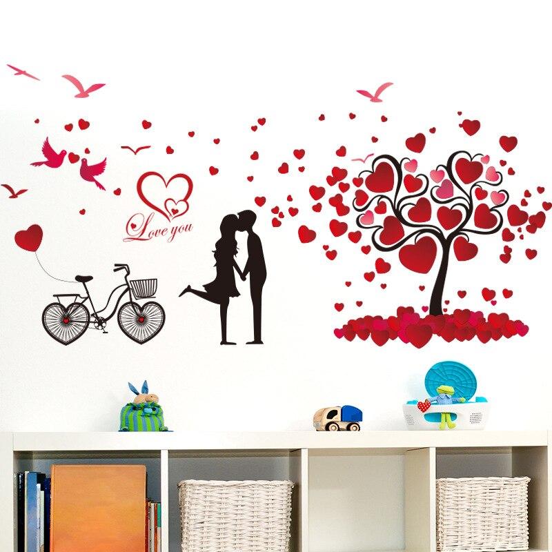 romantic love tree wall stickers paper wall decorations pvc 72x147