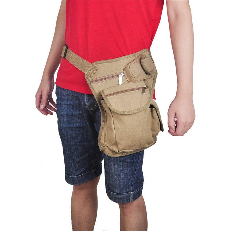 Outdoor Sport Men Bicycle Motorcycle Running Canvas Drop Waist Leg Bags Waist Pack Money Belt Fanny Pack 4 Colors