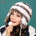 2015 otoño invierno de señora women bola encantadora de moda la decoración de accesorios tapón protector auditivo pieles rex sombrero de pelo de conejo del casquillo del oído térmica
