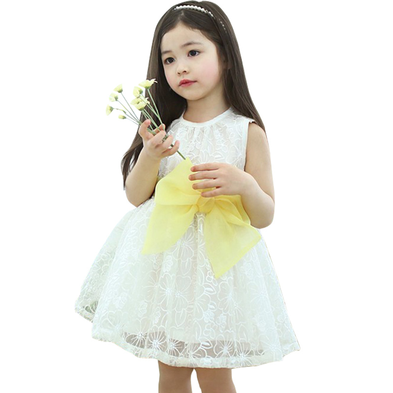 Elegant baby girl princess dress/yellow and white lace dress with ...