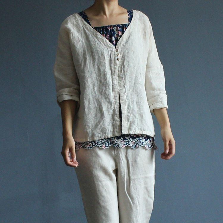 Johnature Women   Blouse     Shirt   Linen Vintage Tops 2018 Autumn New Loose Women Clothing Brief   Shirts