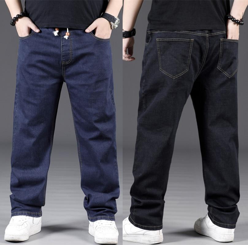 Mens Streetwear Loose Straight Jeans Male Elastic Waist Long Denim Pants For Big Men Plus Size Hip Hop Jeans 4XL 5XL 6XL 7XL