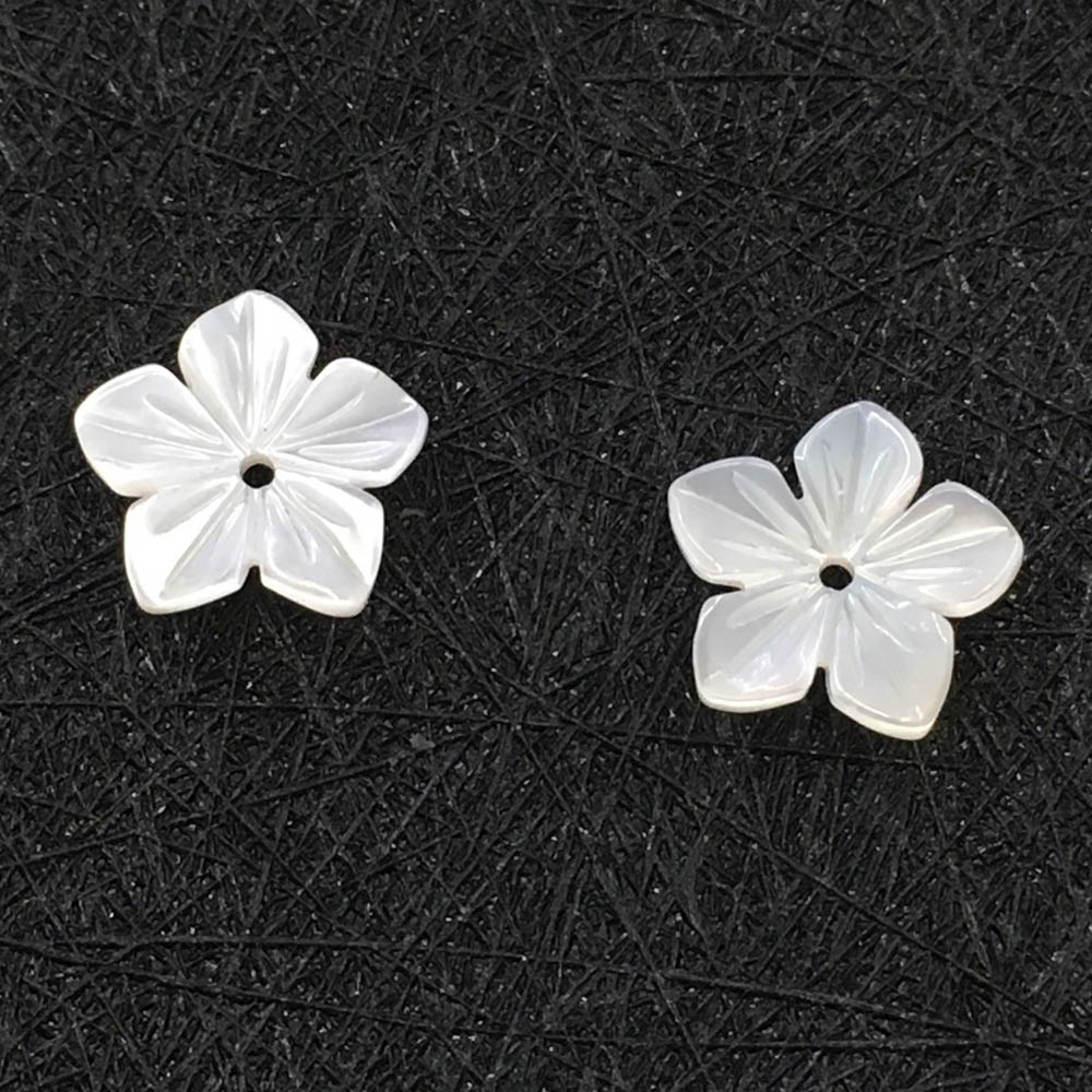 10mm Carved White Shell Flower Charms Center Drilled 5 Petals Flower