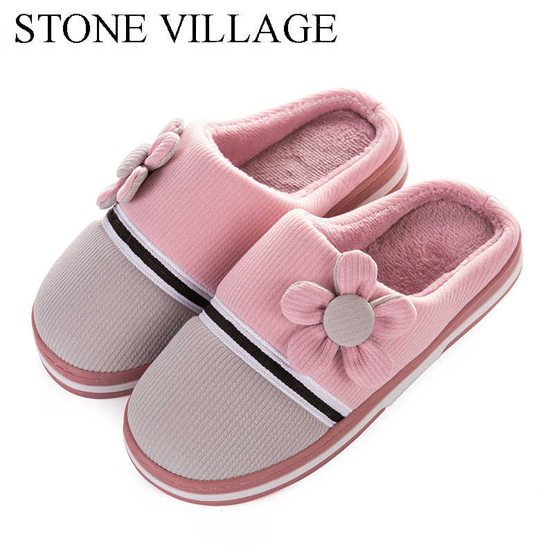 STONE VILLAGE High Quality Striped Flower Winter Warm Cotton Plush Slippers Men Flat Home Slippers Indoor Women Slipper Shoes