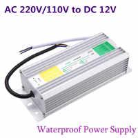 Fuente de alimentación LED DC 12V 50W 60W 80W 100W 150W transformador impermeable IP67 conductor para luz de tira de paisaje de jardín al aire libre