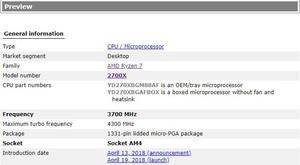 Image 4 - Neue amd ryzen 7 2700X cpu 3,7 GHz Acht Core Sechzehn Gewinde 105W TDP processador Buchse AM4 desktop mit versiegelt box kühler fan