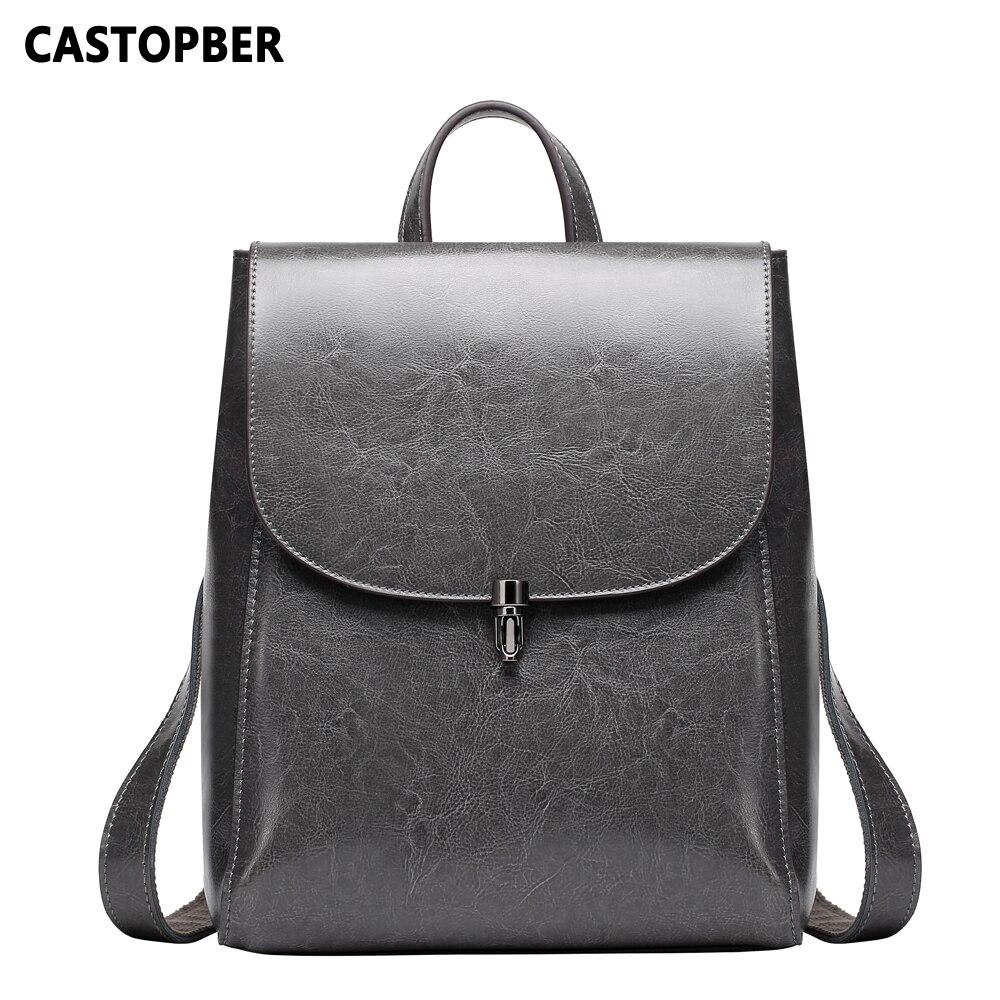 Sacs à dos Vintage femme pour les écoliers rétro Split cuir sacs de Designer huile cire cuir grande capacité Style coréen marque