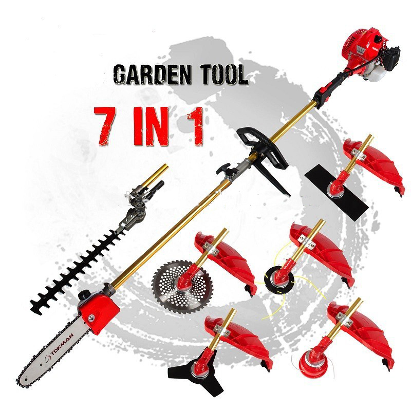 Multi 52CC 2-STROKES 7 in 1 Multi brush cutter lawn mower grass trimmer tree pruner Bush Cutter Whipper Snipper 2016 new garden tools top quality charging grass trimmer portable home lawn mower with wheels trimmer grass trim level machine