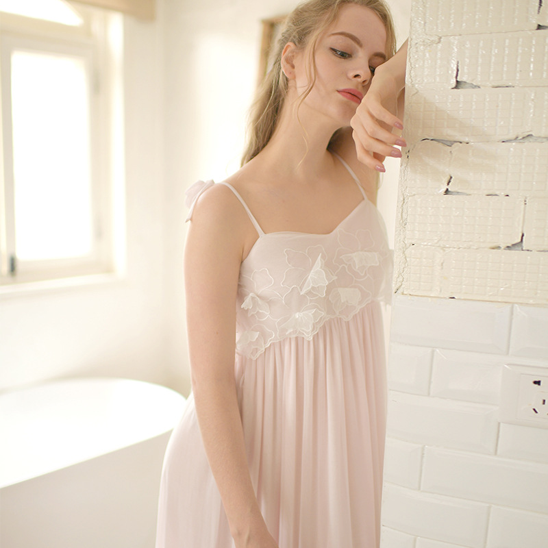 2019 New   Nightgowns     Sleepshirts   Sexy Women Sleepwear Summer Spaghetti Strap Retro Palace Princess Sleeping Dress HZL34