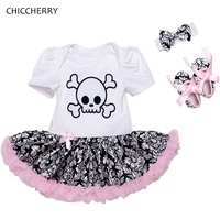 Skull Head Baby Girl Clothes Cotton Toddler Lace Tutu Bow Headband Set Halloween Costume For Kids