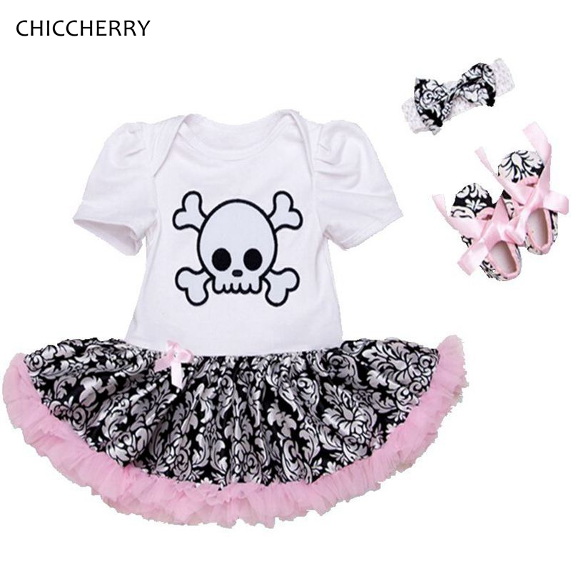 Skull Head Baby Girl Clothes Cotton Toddler Lace Tutu Bow Headband Set Halloween Costume for Kids Vestido De Bebe Party Outfits