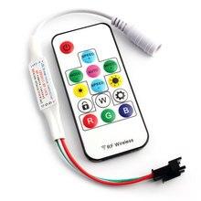 Controlador de luz móvel, dc 12v led rgb controlador 14key mini ws 2812 b 2811 rgbw rgbww controlo remoto para luz sp103e 2835 5050 tira de luz mágica casa