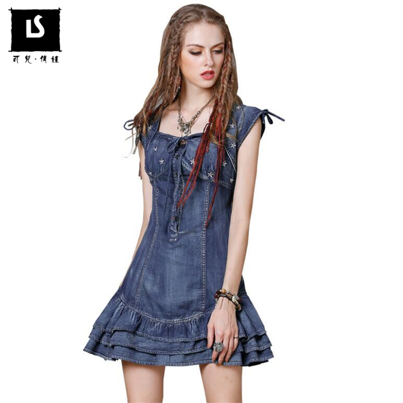 Letní šaty Horký výprodej Dámské riflové šaty retro lotosový list postranní šaty vysoce kvalitní pěticípé hvězdné výšivky Mini Šaty
