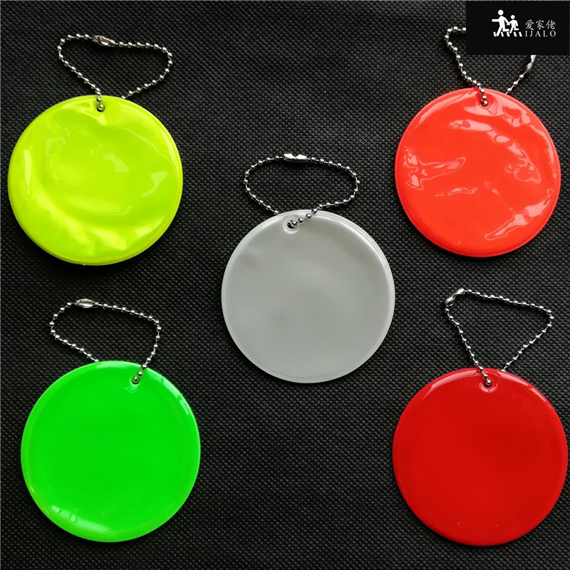 Soft PVC reflector Reflective pendant charm bag accessories hanger reflective keyrings keychain for road safety use round model