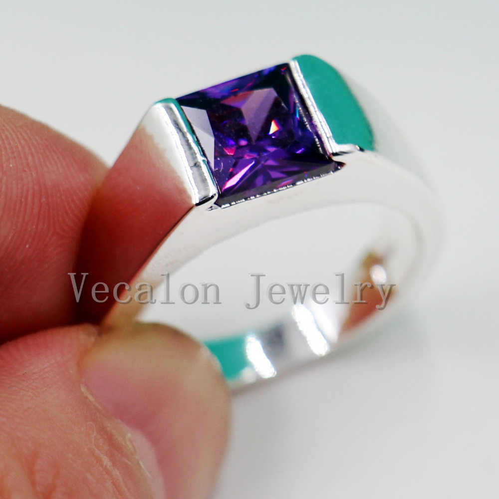 Vecalon masculino jóias princesa corte 4ct roxo cz 925 prata esterlina noivado anel de banda de casamento para homem sz 8-12