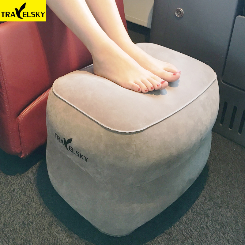 Travelsky New Travel Inflatable Pillow Plane Train Foot MAT Pad Air Inflatable Large Valve Footrest Pillow 3 Layer Cushion