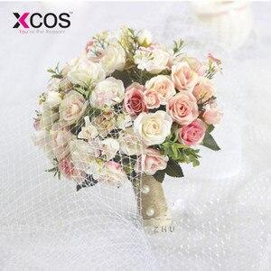 Image 2 - XCOS חדש סגול לבן חתונה זר בעבודת יד מלאכותי פרח רוז buque casamento כלה זר לחתונה קישוט