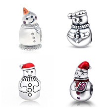 SG lovely snowman charms with color enamel 925 sterling silver beads fit original pandora charm bracelet jewelry making gifts цена и фото