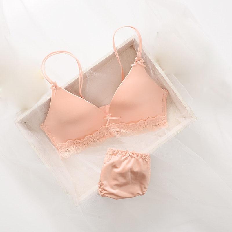 New Cotton Spandex Hot Bra Brief Sets Young Girl Underwear Brassiere Lingerie Bow Lace Teenage Training Bra Set Underwear Set