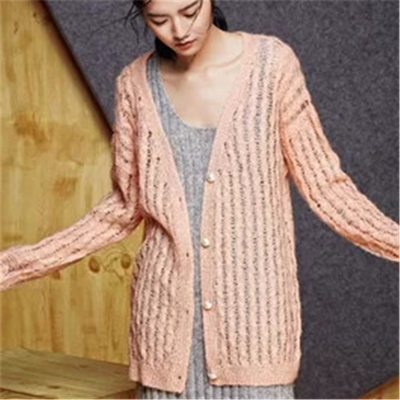 100% Hand Made Wool Thin Knit Women Hollow Out Cardigan Sweater Single Breasted Retail Wholesale Customized