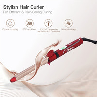 19mm 360 Degree Rotating Clip Hair Curling Iron Wand Roller LCD Ceramic Hair Curler Professional Deep Curl Wave styling tool P40