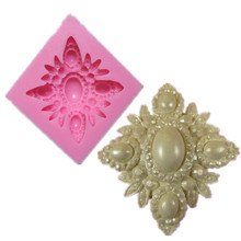 Vintage Flourish Brooch Diamond Silicone Cake Mold Cupcake Kitchen Accessories Soap Chocolate Molds Confeitaria