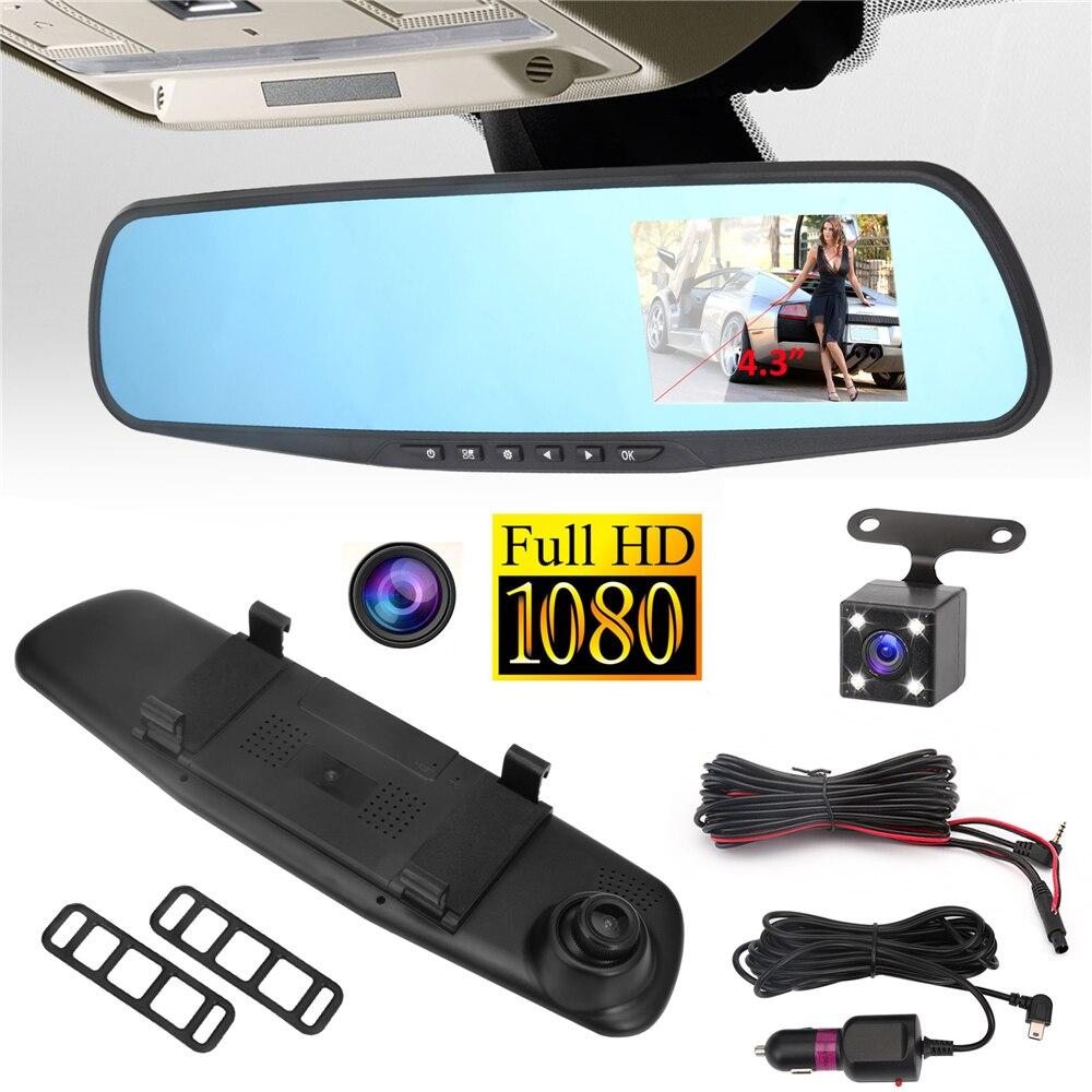Geartronics Cámara del coche DVR espejo retrovisor del DVR doble lente Dash CAM registrador video registrator videocámara Full HD 1080 p G sens