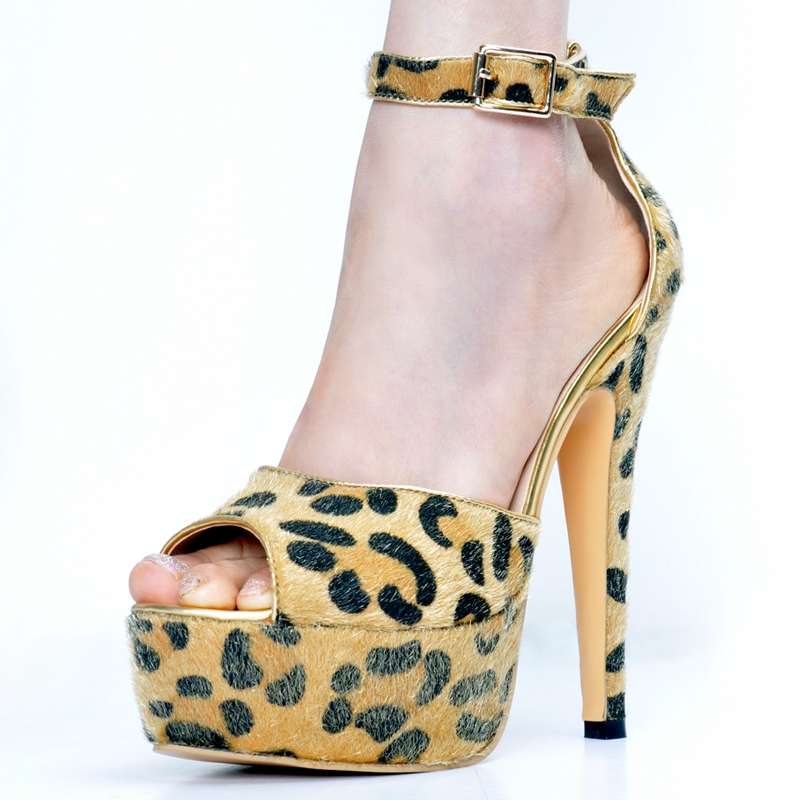 Leopard Fur Ankle Strap Women Sandal High Heels Platform Open Toe Sandals Europe Summer Platform Ankle Women Casual цена