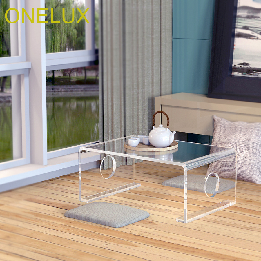 Waterfall Clear Acrylic Tatami Tea Table,Lucite Bed Laptop U Tables-60W 40D 25H CM