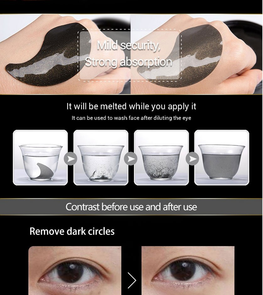 SOON PURE Black Gold Aquagel Collagen Eye Mask Ageless Anti Wrinkle Eye Bags Dark Circles Puffy Eyes Whitening Skin Care Face 12