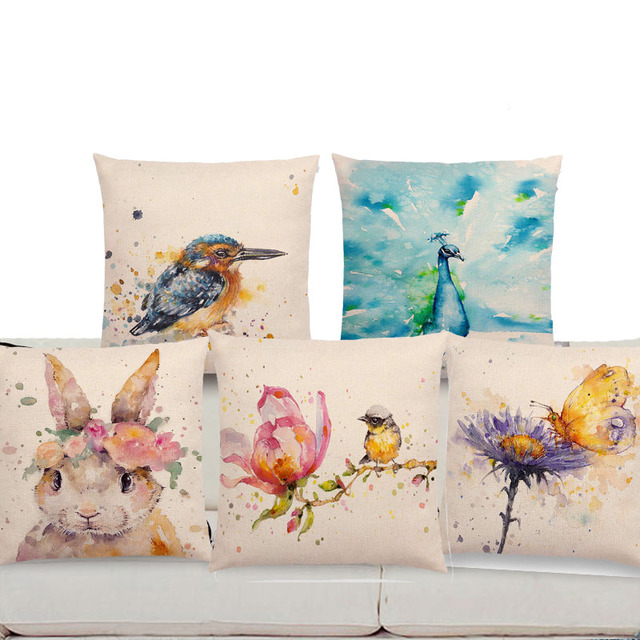 18   Square Watercolor Animals Sofa Throw Pillow Case Robin Flamingos  Kookaburras Lion Butterfly Ladybug Lane Wren Cushion Cover 7871a00634f5