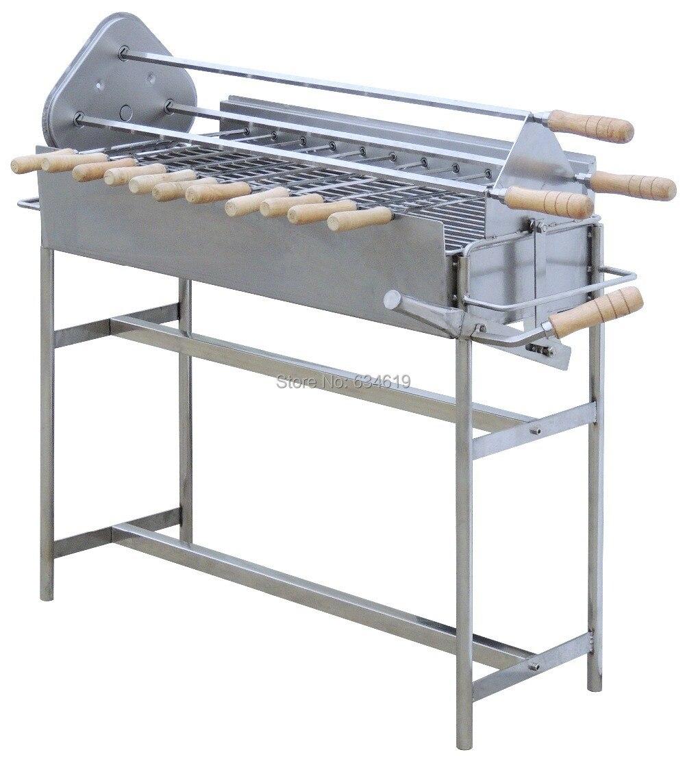 Acier inoxydable 5 rpm 220 v moteur tournant barbecue au charbon de bois électrique brochettes rotatif portable poulet barbecue pour extérieur