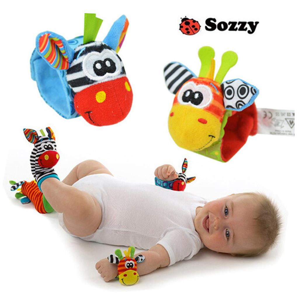 2015 New Cartoon Toys & Hobbies Baby Toy Infant Wrist Strap Soft Toy Baby Foot Socks Baby Rattles Mobile 1 Pair