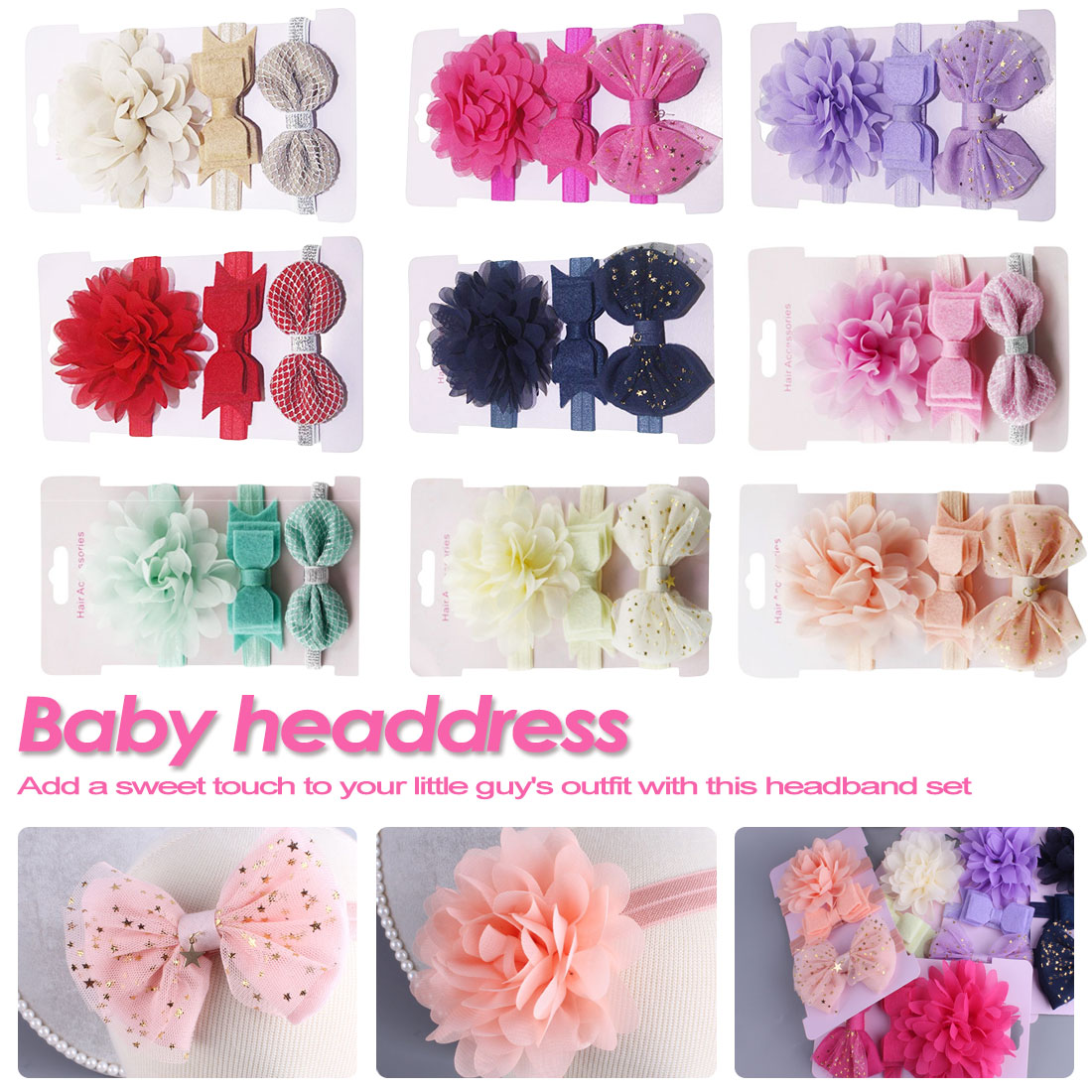 On Sale 3pc Sweet Baby Girl Boy Elastic Flower Headband Children Stretchy Bow Knot Elastic Hair Band
