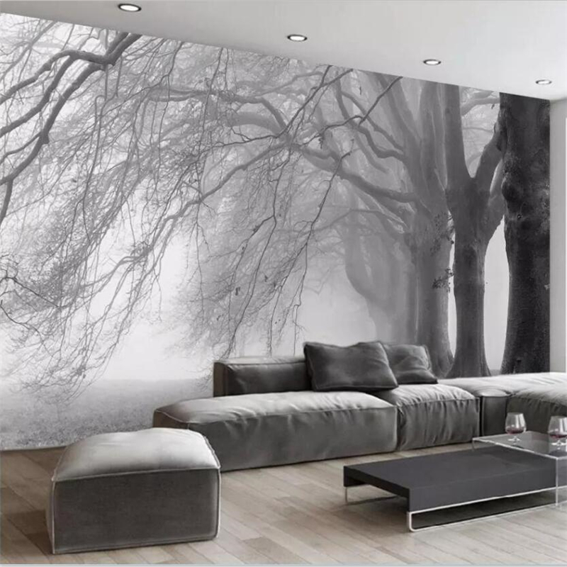 bedroom living mural abstract tree beibehang sofa decoration wallpapers