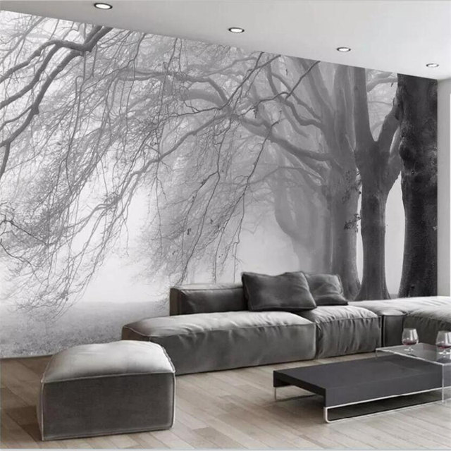 bedroom living abstract mural tree sofa beibehang decoration wallpapers mouse