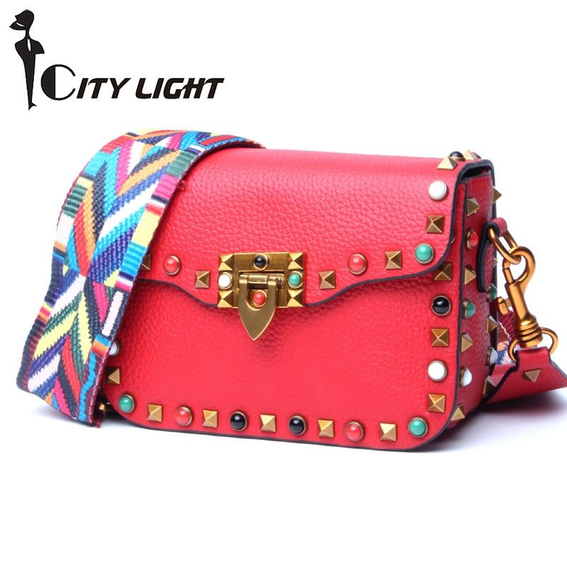 High Quality Genuine Leather Women Crossbody Bags Fashion Color Rivet Design Women Shoulder Bags Color Shoulder Strap Ladies Bag