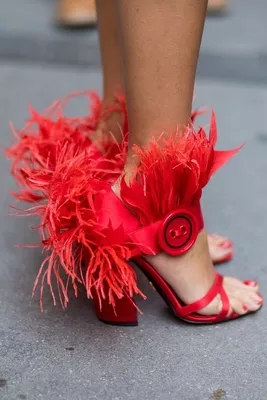 Women Sexy Solid Red Feather Decoration Ankle Buckle Strap Sandals Summer Hollow Out High Square Heel Party Shoes hot sale women gold leather ankle buckle strap platform sandals summer hollow out open toe high square heel party shoes