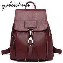 2019 Women's leather backpack Female Flip cover backpack door lock school bags for teenage girls Lady travel backpack Sac a Dos women backpack female high quality leather multi pocket school bags for teenage girls sac a dos travel back pack rucksacks