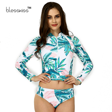 BLESSKISS Print Floral Long Sleeve Swimwear